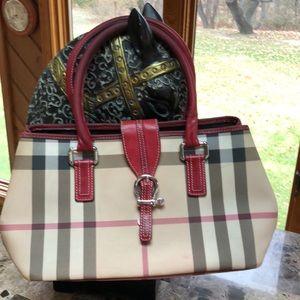 Burberry Equestrian plaid used purse
